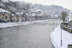 winter white large big castle on hill mountain river Stock Image
