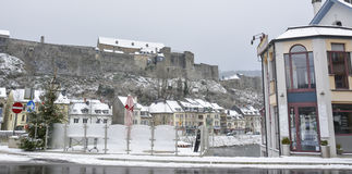 winter white large big castle on hill mountain Royalty Free Stock Images