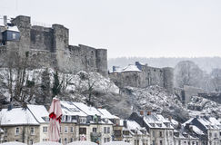 winter white large big castle on hill mountain Stock Photos