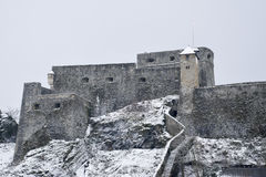winter white large big castle on hill mountain Royalty Free Stock Photo