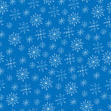 Winter white line snowflake seamless pattern on the blue  Stock Image