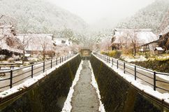 Winter white snow in the valley village of the mountain royalty free stock photo