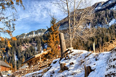 Winter white snowy mountains, wooden cottages and green conifers Stock Photo