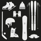 Winter white sports icons. Winter white sports icons on black background. Set of winter sports equipment. Vector illustration Stock Photo