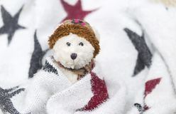 Winter white teddy bear. Wrap with star pattern blanket, Winter season concept stock image