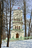Winter  White Tower in Alexander park in Pushkin, Stock Images