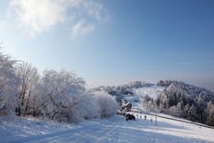 Winter wide ski track. Royalty Free Stock Images