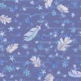 Winter wiederholte Muster mit Schnee und Federn, Aquarell Vektor Abbildung