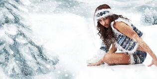 Winter wild woman Stock Photography