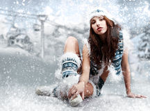 Winter wild woman Stock Photo