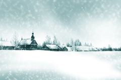 Winter willage landscape Royalty Free Stock Photo