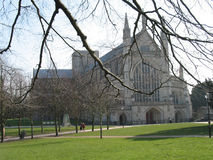 Winter at Winchester Cathedral. Worshipppers leave Winchester Cathedral on a cold winter morning royalty free stock image