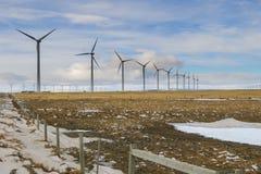 Winter Windfarm. Windfarm in the prairies of Alberta Canada in winter Royalty Free Stock Photos