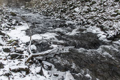 Winter winding creek and snow covered landscape Royalty Free Stock Photos