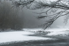 Winter winding frozen lake snow covered landscape Royalty Free Stock Photography