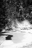 A Winter Winding River. A winding river beneath the snow in winter Stock Image