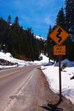 Winter Winding Road. Chinook Pass, Washington, USA Stock Images
