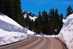 Winter Winding Road. Chinook Pass, Washington, USA Royalty Free Stock Image