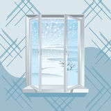 Winter Window. Winter Landscape over at Opened Plastic Window stock illustration