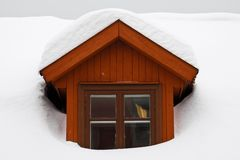 Winter Window. Wooden window covered with withe snow Royalty Free Stock Image