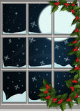 Winter window. With view and snowfall Royalty Free Stock Images