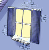 Winter window. Hand illustrated, colored with Photoshop Stock Photo