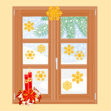 Winter window with Christmas decorations vector Royalty Free Stock Photo