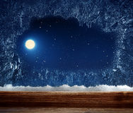 Winter window with frosted inside. Stock Photo