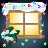Winter window with glowing garland. Royalty Free Stock Photos