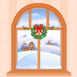 Winter window. Illustration of a Christmas window view with a snowy landscape Royalty Free Stock Photography