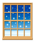 Winter Window Scene. Window with snow falling outside Stock Image