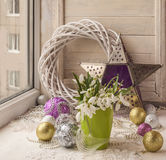 Winter window with snowdrop. Stock Images