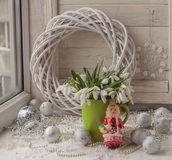 Winter window with snowdrop. (mass-produced) Royalty Free Stock Images