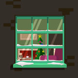 Winter window. Vector illustration Stock Photos