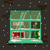Winter window. Vector illustration Stock Images
