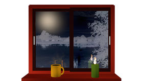 Winter window. Window with a view of a nightly snow landscape. On the windowsill stands a steaming coffee cup and a burning candle. 3d illustration vector illustration