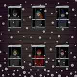 Winter windows and people. Illustration of winter windows and people Royalty Free Stock Photography
