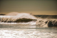 Winter winds in Ventura. Large breaking waves along the shore in Southern California Royalty Free Stock Photography