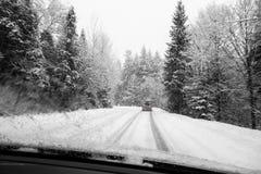 Winter through windshield Royalty Free Stock Photos