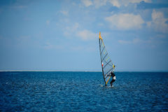 Winter Windsurfing wetsuit royalty free stock photos