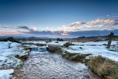 Winter at Windy Post. Windy Post on snowy Dartmoor National Park in Devon Stock Photography