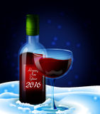 Winter Wine. Printable Christmas and New Year greeting card.  Wine glass and wine bottle on the snow clip art Royalty Free Stock Images