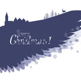 Winter wing Christmas greeting card. Based on hand drawn sketch. Great for holiday design Royalty Free Stock Photo