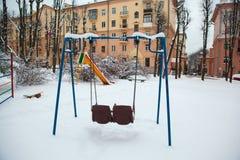 Winter, Winterstadt, Winter im Park, Schnee, Frost, Kälte, Schneesturm stockfotos