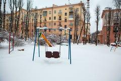 Winter, Winterstadt, Winter im Park, Schnee, Frost, Kälte, Schneesturm stockbild