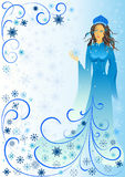 Winter-woman. Woman in blue with snow vector illustration