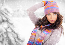 Winter woman. On draw snow Stock Photography