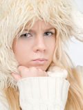 Winter woman. And blue eyes Stock Photo