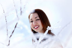 Winter woman. Beautiful young winter woman smiling Royalty Free Stock Photos