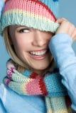 Winter Woman. Beautiful playful winter woman laughing stock photo